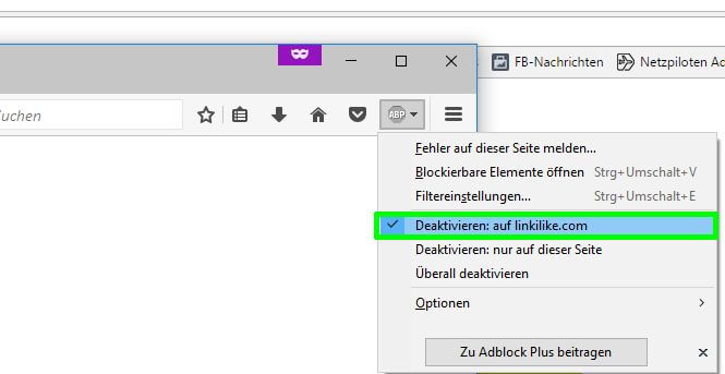 ad blocker in your browser: deactivate AD blocker